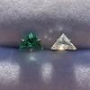 .85ctw Vintage Mismatched Emerald and Diamond Stud Earrings 13