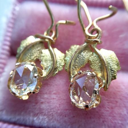 .98tcw Oval Rose Cut Diamond Earrings With Leaf Motif