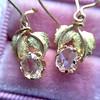 .98ctw Oval Rose Cut Diamond Earrings With Leaf Motif 3