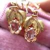 .98ctw Oval Rose Cut Diamond Earrings With Leaf Motif 6
