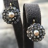 Victorian Pearl and Rose Cut Diamond Cluster Earrings 2