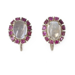 Vintage Silver Moonstone & Pink Paste Screw Back Earrings