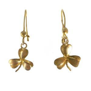 Antique Art Deco 9ct Gold Clover Drop Earrings