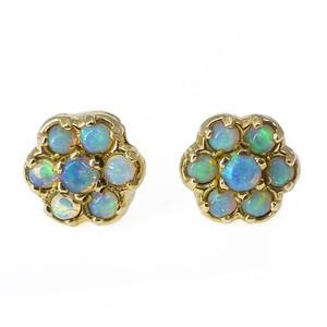 Vintage 9ct Gold Opal Flower Stud Earrings