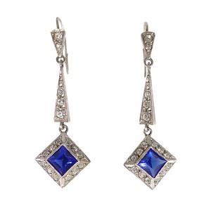 Antique Art Deco Silver Paste Blue Drop Earrings