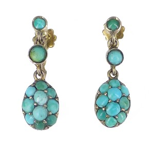 Antique Victorian Silver Gilt Turquoise Screw Back Drop Earrings