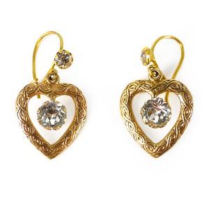 Vintage 9 Carat Gold Paste Heart Drop Victorian Revival Earrings