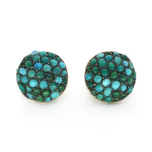 ANTIQUE EDWARDIAN SILVER PAVE SET TURQUOISE SCREW BACK EARRINGS
