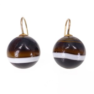 Antique Victorian 9ct Gold Banded Agate Ball Drop Earrings