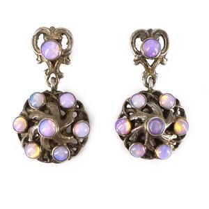 Antique Austro Hungarian Silver Opal Drop Earrings