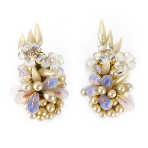 Vintage Mid Century French Opaline Faux Pearl Floral Cluster Clip Earrings