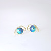 Blue Pearl Earring with Koru Swirl in Gold
