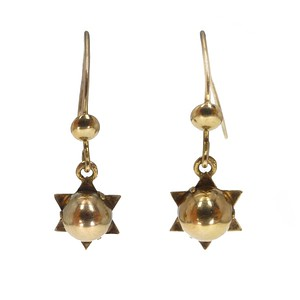 Antique Victorian 9ct Gold Starburst Drop Earrings