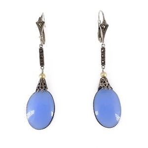 Antique Edwardian French Silver Chalcedony Glass Marcasite Drop Earrings