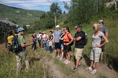 BEAVER CREEK, CO - Starting the Walk & Wine Luncheon on the Village Loop with guide Nick Fickling.