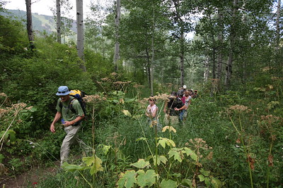 BEAVER CREEK, CO - Starting the Walk & Wine Luncheon in the Aspen Grove with guide Nick Fickling.