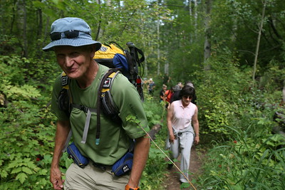 """BEAVER CREEK, CO - Guide Nick Fickling leads the """"fast"""" group for the Walk & Wine Luncheon in Aspen Grove."""