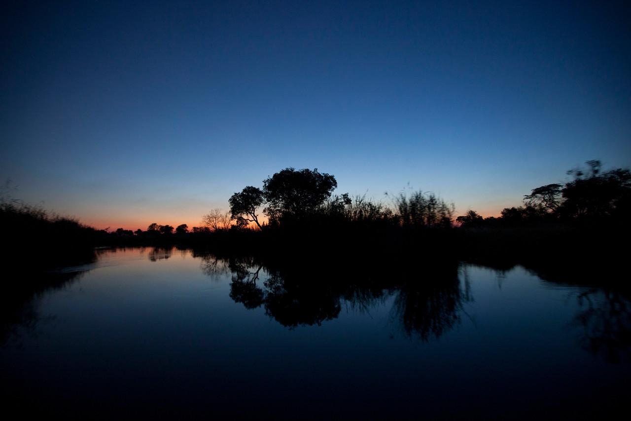 BWABWATA NATIONAL PARK, NAMIBIA - Kwandu River Sunset.