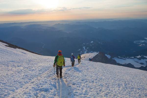 MT RAINIER, WA - Descending on the Emmons Glacier.
