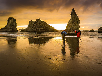 Photographers at Bandon, Oregon