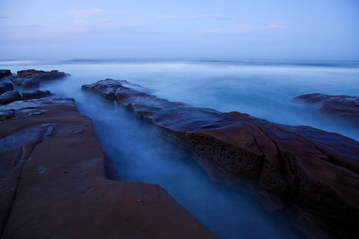 """Misty Tide"", water movement in the La Jolla tidepools at dawn"