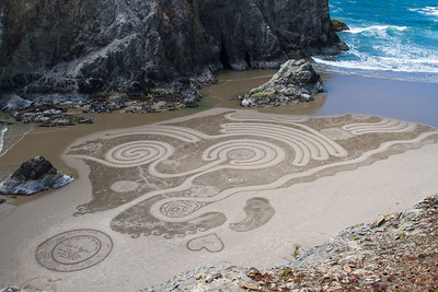 Sand labyrinth at Face Rock, at Bandon Oregon