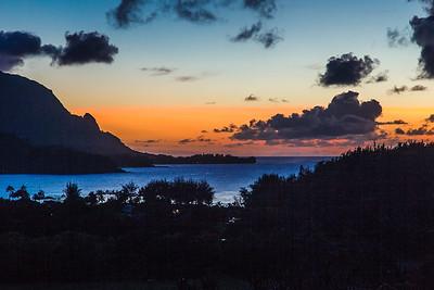 Hanalei Bay at sunset, Kauai, Hawaii