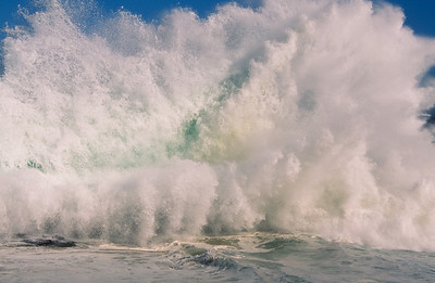 """Splash"", wave crashing over the sea wall at Casa Cove, La Jolla, Ca."