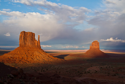 """West & East Mittens"",  at sunset, Monument Valley"