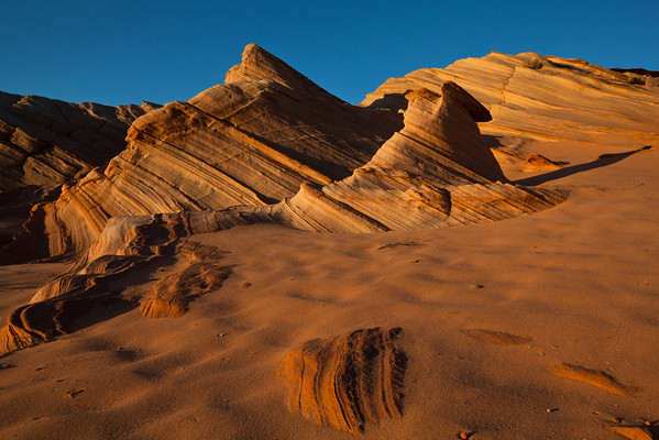Sandstone to Sand, The Fins area at sunset. A short drive & hike from page Az.