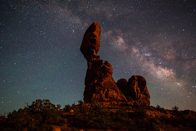 Balance Rock & the Milkyway lit by moonlight. Arches National Park, Utah