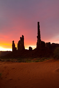 """Fire in the Sky"", Yei bi Chei & Totem Pole at sunrise, Monument valley"