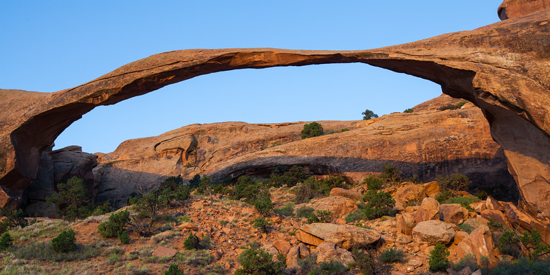 Landscape Arch at sunrise. Arches National Park, Utah