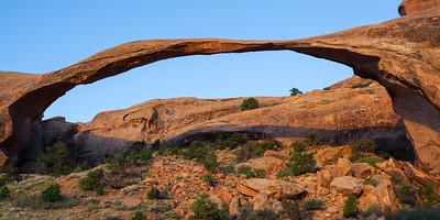 Landscape Arch at sunrise. Arches National Park, Utah