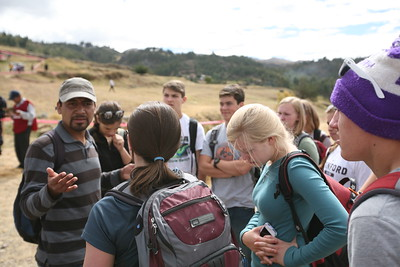 SAQUSAYWAMAN, CUSCO, PERU - Guide Arlych talks about the Inti Raymi Inca festival we're about to see.