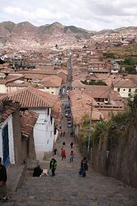 CUSCO, PERU - Street to stairs.