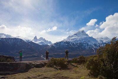 AYSEN, CHILE - Photos in every direction. Lynda Gregory, Courtney Hans and KieronWeidner get shots of the Cerro Castillo National Reserve.