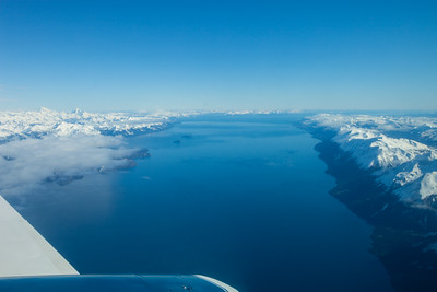 PUERTO WILLIAMS, CHILE - Strait of Magellan and Dawson Island seen from the DAP Airlines Cessna 402.