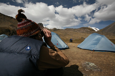 AUSANGATE, PERU: From Pucacocha Camp (4,653m), David Bailey scouts a route to climb Campa Peak (5,500m).
