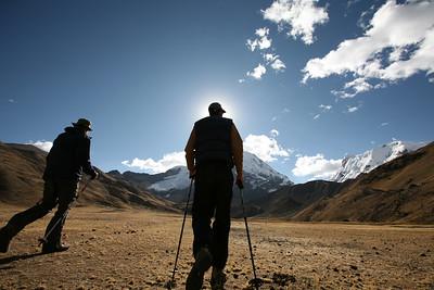 AUSANGATE, PERU: Trekking around Nevado Ausangante. Starting in the town of Tinki to Pacchanta (4,200m) to Pucacocha (4,653m) to climb Campa Peak (5,500m) camp at Campa Camp (4,746m) to Ausangante Advanced camp (5,180m) to Pampachncha Valley Camp (4,630m) to Hatun Pucacoha (4,600m). Trekkers/Climbers: David Bailey, Robert Horner, Cameron Martindell; Trip organized by Martin Hurtado de Mendoza.