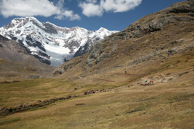 AUSANGATE, PERU: Trekking around Nevado Ausangante. Starting in the town of Tinki to Pacchanta (4,200m) to Pucacocha (4,653m) to climb Campa Peak (5,500m) camp at Campa Camp (4,746m) to Ausangante Advanced camp (5,180m) to Pampachncha Valley Camp (4,630m) to Hatun Pucacoha (4,600m). Trekkers/Climbers: David Bailey, Robert Horner, Cameron Martindell; Trip organized by Martin Hurtado de Mendoza.