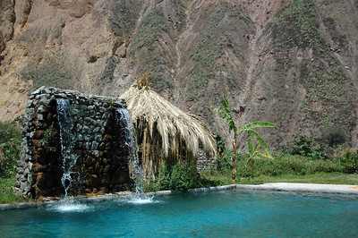 COLCA CANYON, PERU: Oasis spring fed pool falls.