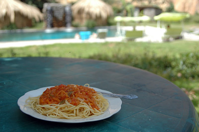COLCA CANYON, PERU: Lunch is served. A delicious plate of spaghetti and a unique and tasty sauce.