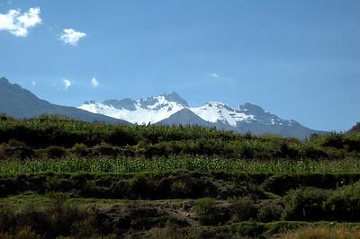 COLCA CANYON, PERU: 5,000m+ snow covered mountains above Colca Canyon.