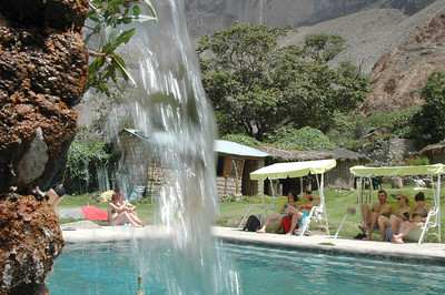 COLCA CANYON, PERU: From behind the falls of the spring fed pool at the Oasis.