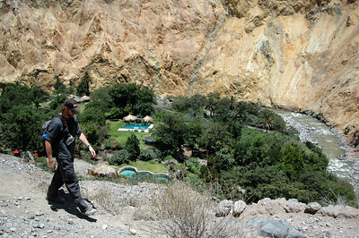 COLCA CANYON, PERU: Forrest continues down the trail to the Oasis accomodations.