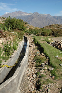 COLCA CANYON, PERU: Aquaduct irrigation project still under construction.