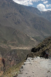 COLCA CANYON, PERU: The trail remains steep and rocky. And the view remains spectacular. Getting warm in the sun.