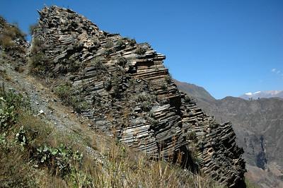 COLCA CANYON, PERU: A unique rocky strata outcroping.