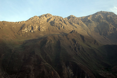 COLCA CANYON, PERU: Morning light on the western peaks above the canyon.